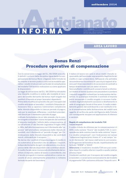 L'Artigianato Informa Settembre 2014