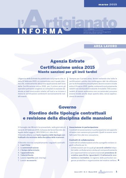L'Artigianato Informa Marzo 2015