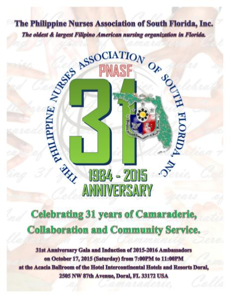 PNASF 31ST Anniversary Gala and Induction of 2015-2016 Ambassadors 2015