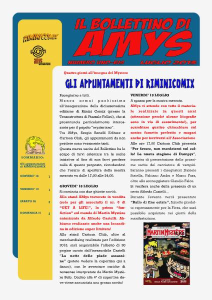 AMys - Bollettino Informativo N.1 Luglio 2013