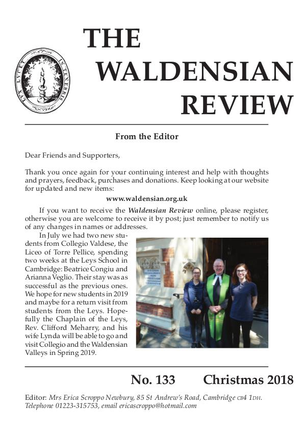 Waldensian Review No 133 Winter 2018