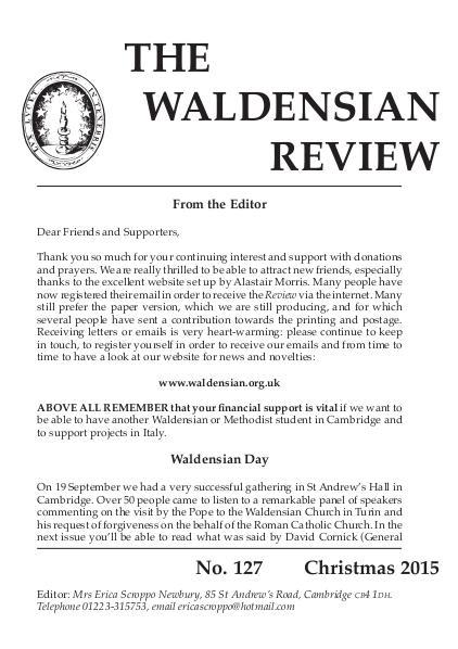 Waldensian Review No 127 Winter 2015