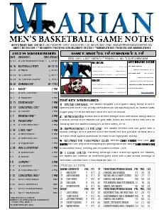 Men's Basketball Game Notes Volume 5