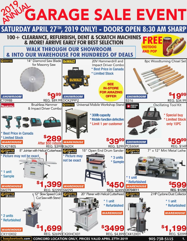 Busy Bee Tools 2019 Garage Sale Flyer