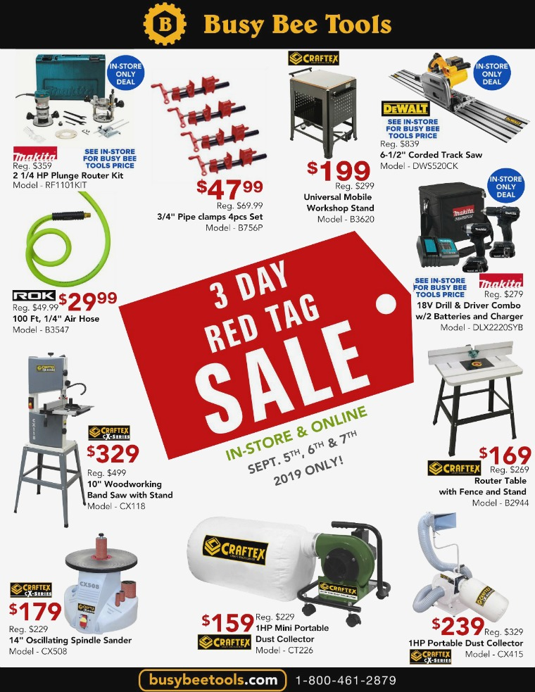 Busy Bee Tools 3 Day Red Tag Sale