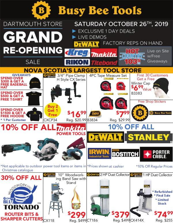 Busy Bee Tools Dartmouth Grand Re-Opening Flyer