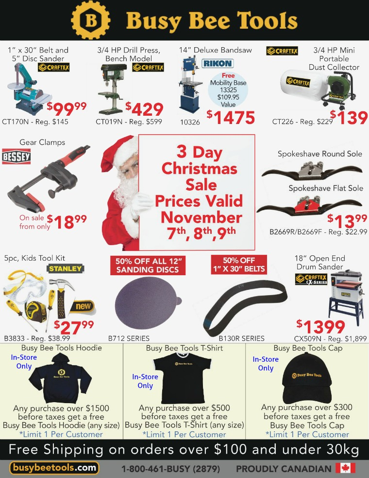 Busy Bee Tools 3 Day Christmas Sale Flyer