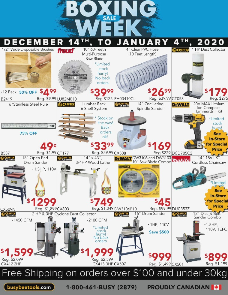 Busy Bee Tools 2020 Boxing Sale Week Flyer