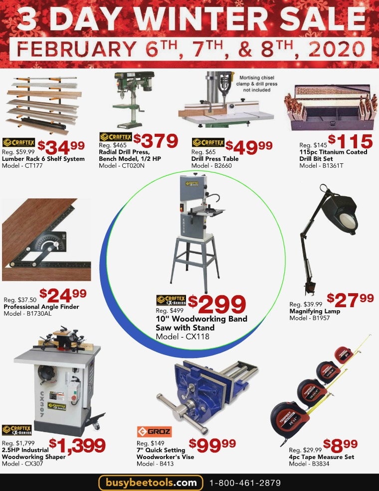 Busy Bee Tools 3 Day Winter Sale
