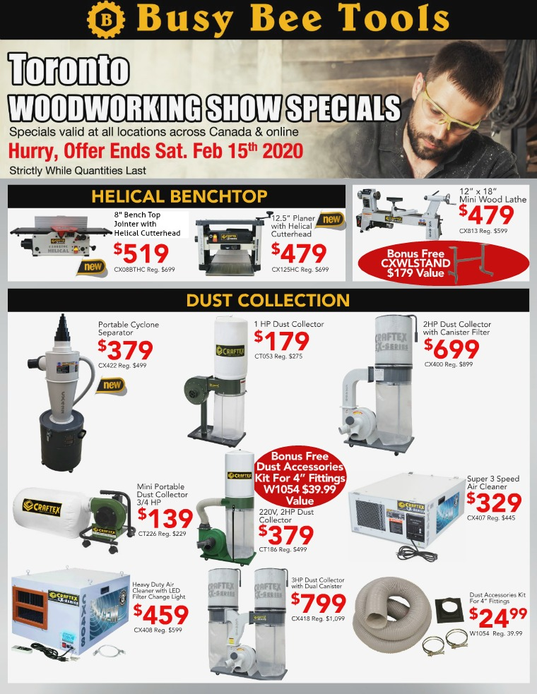 Busy Bee Tools 2020 Toronto Wood Show Flyer