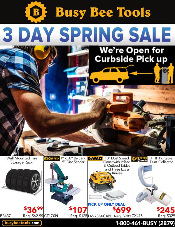 Busy Bee Tools 3 Day Spring Sale 2020