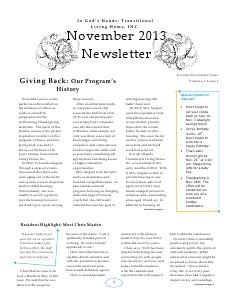In God's Hands: TLH, INC.: October/November Newsletter November 2013
