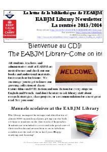 Library Newsletter Rentrée 2013