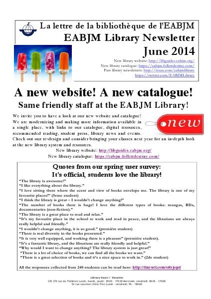 Library Newsletter June 2014