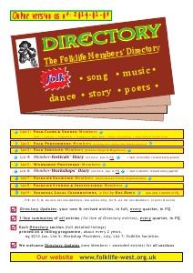 Directory: Folklife Members [online copy] Directory: Folklife Members, as of 10 Jan 2014