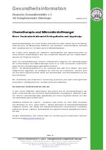 Mikronährstoffe bei Krebs Chemotherapie und Mikronährstoffmangel