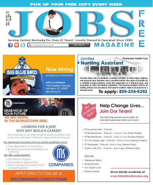 Jobs Magazine January 1 – 7, 2016