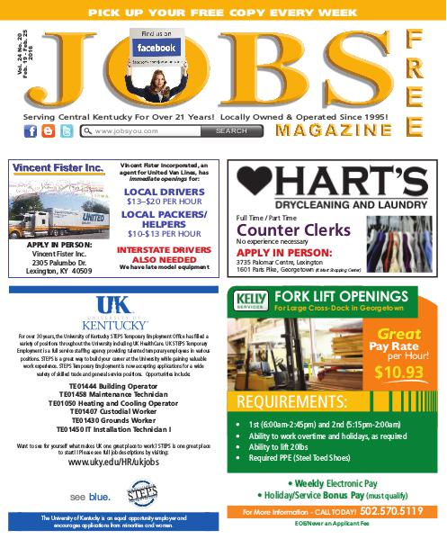 Jobs Magazine February 19 – 25, 2016
