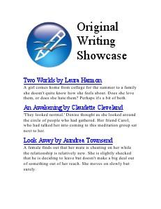 Original Writing Showcase Dec. 2013
