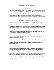 MSHS 2014 Exam Schedule