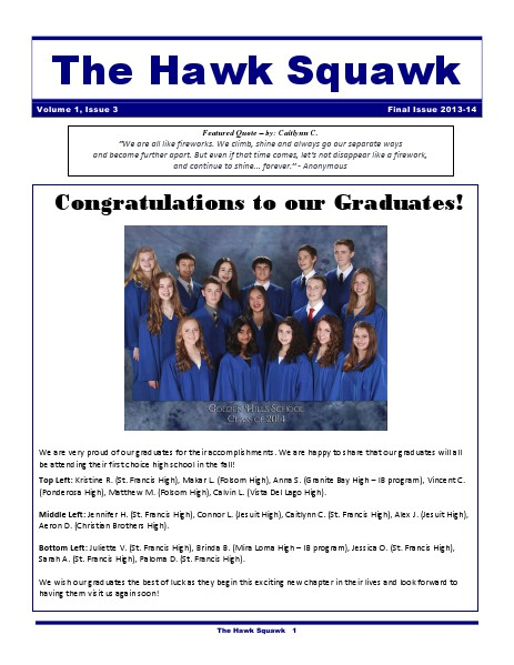 The Hawk Squawk 2013-14 Final Edition