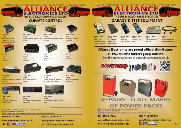 Bus and Coach Parts Catalogue from Alliance Electronics 2018