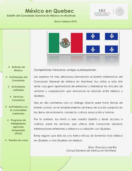 Boletín México en Quebec Enero-Febrero 2014