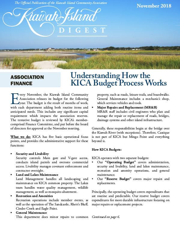 Kiawah Island Digest November Digest 2018