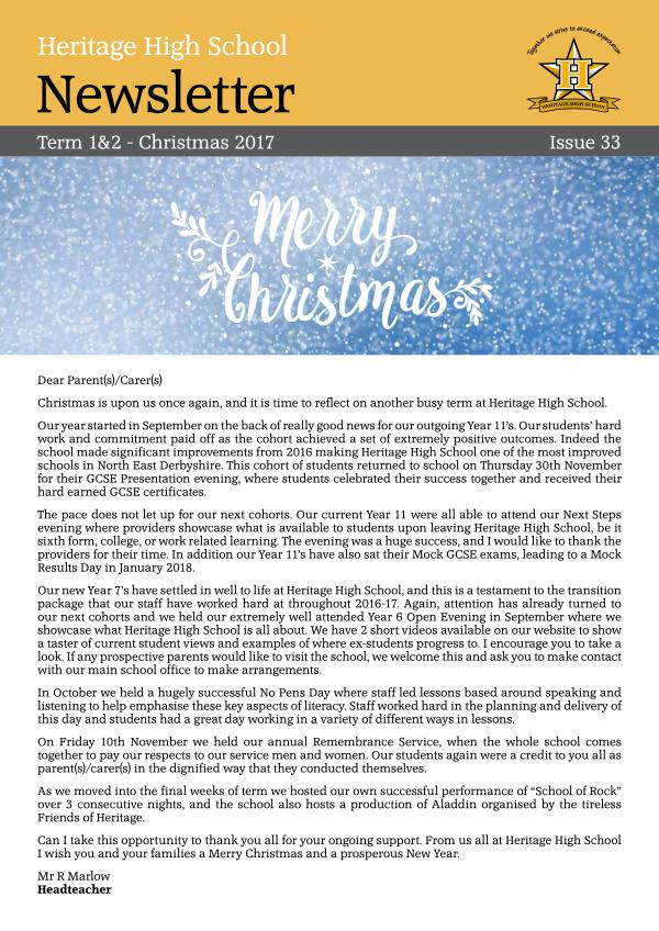 Heritage High School Spring Newsletter 2018 Christmas Newsletter_2017