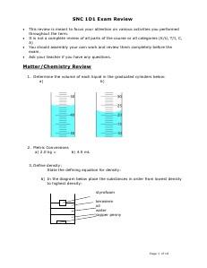 Grade 9 Science Exam Review 2014