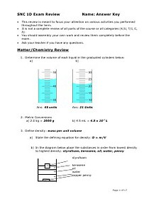 Grade 9 Science Exam Review - Solutions