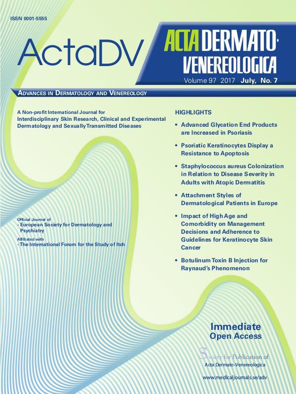 Acta Dermato-Venerelogica Issue No 7, 2017 97-7CompleteContent