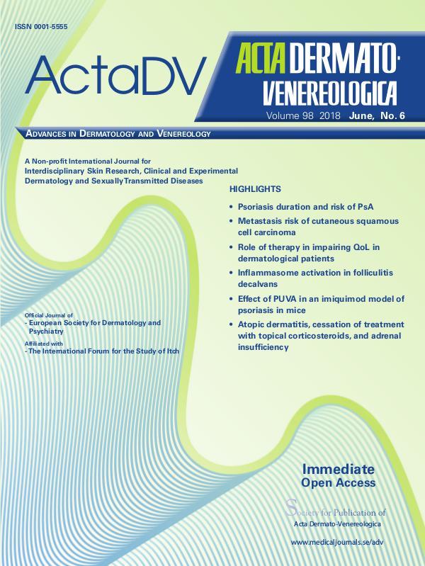 Acta Dermato-Venereologica 2018, No. 6 98-6CompleteContent