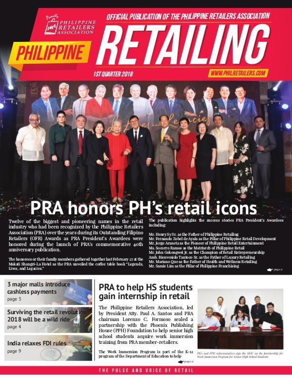 Philippine Retailing Newsletters 2018 PRA Newsletter 2018 Q1