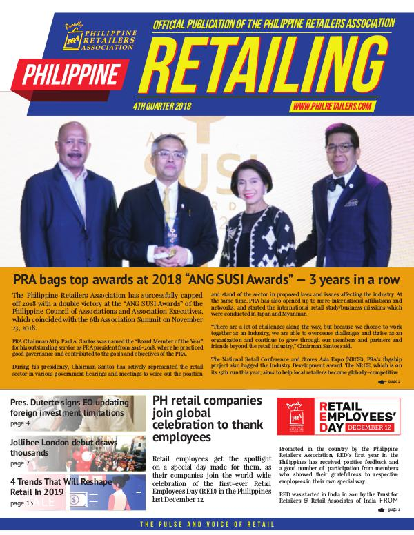 Philippine Retailing Newsletters 2018 PRA eNewsletter 2018 Q4