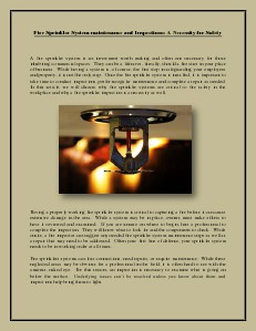 Fire Sprinkler System maintenance and Inspections: A Necessity for Safety (Jan. 2014)