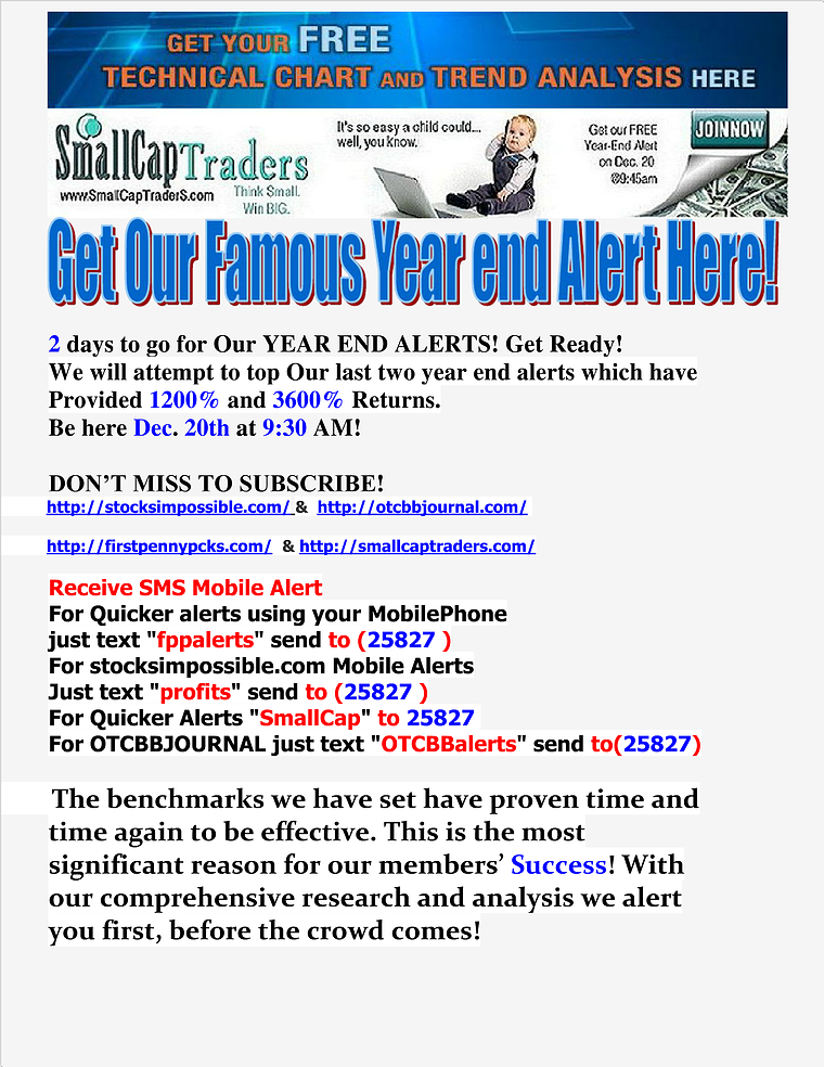 Get Our Famous Year End Alert Here!! Dec. 20, 2013