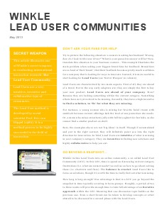 Winkle Lead User Community #1